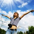 Stock Photo: Woman with photocamera