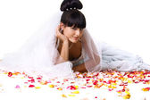 Beautiful bride with rose petals — Stock Photo