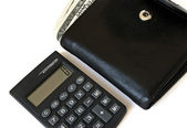 Calculator and wallet — Stock Photo