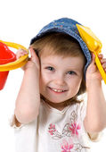 Cute girl with shovel and bucket — Stock Photo
