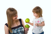 Cute little girl and her mum — Stock Photo