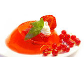 Fruit jelly and strawberry — Stock Photo
