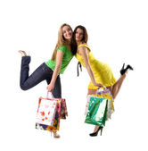 Ladys and bags on white background — Stock Photo