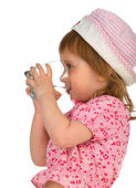 Little girl drink the water — Stock Photo