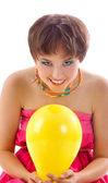 Pretty young girl with balloon — Stock Photo