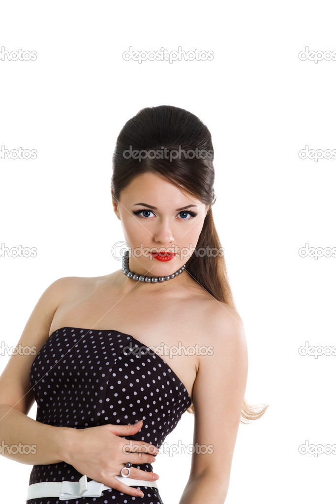 Beautyful girl in retro dress on a white background  Stock Photo #1126760