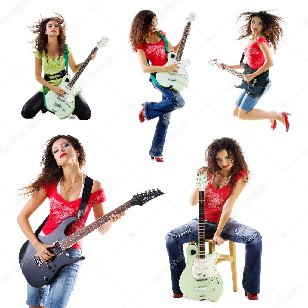 Collection photos of a cute guitarist woman isolated on white — Stock Photo #1127148
