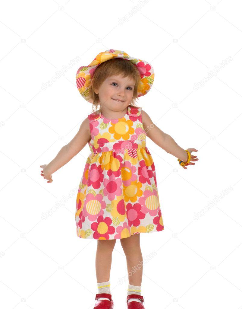 夏天穿裙子的可爱小女孩 — 图库照片08tan4ikk