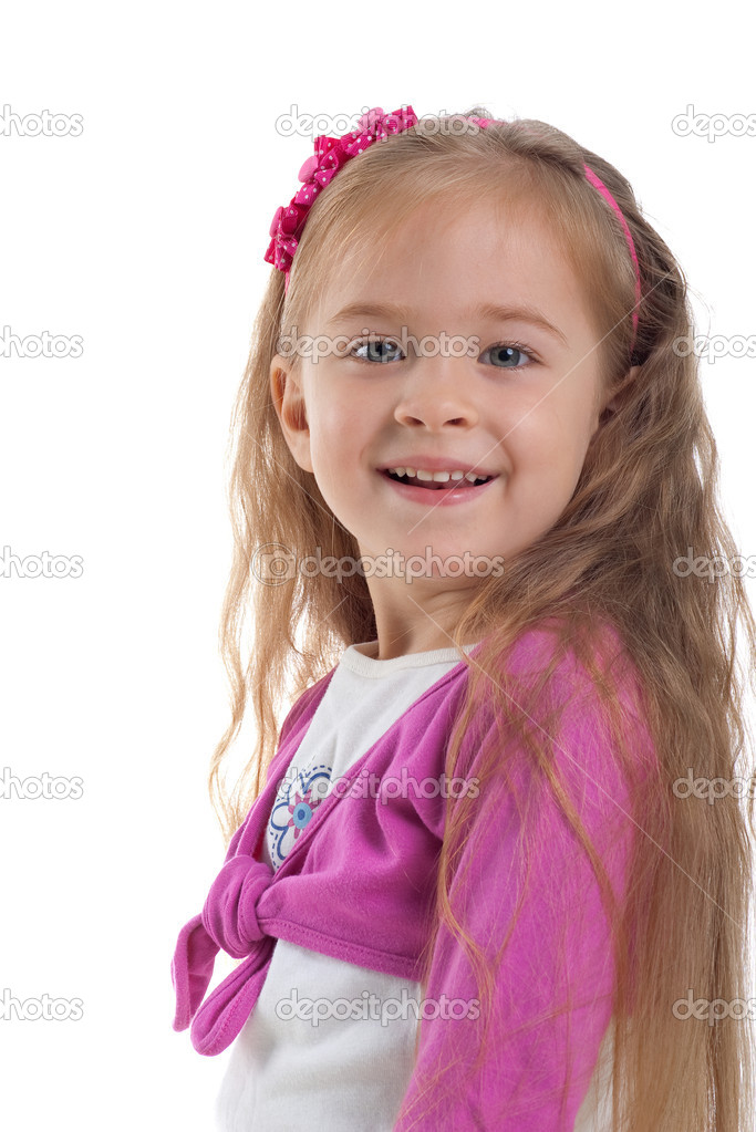 Cute little girl with long hair on a white background close-up — Stock Photo #1127490