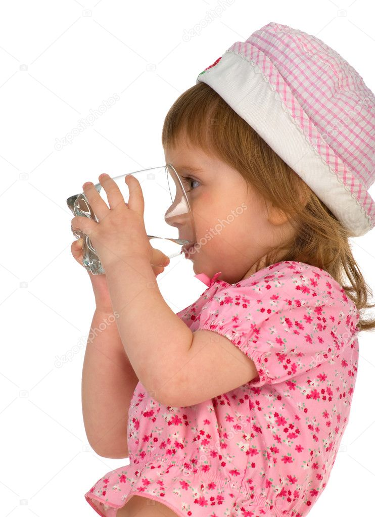Little girl drink the water. Isolated on white — Stock Photo #1127951