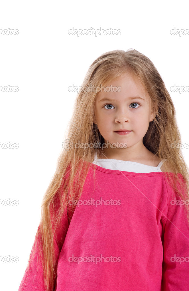 Cute little girl with long hair on a white background close-up — Stock Photo #1128098