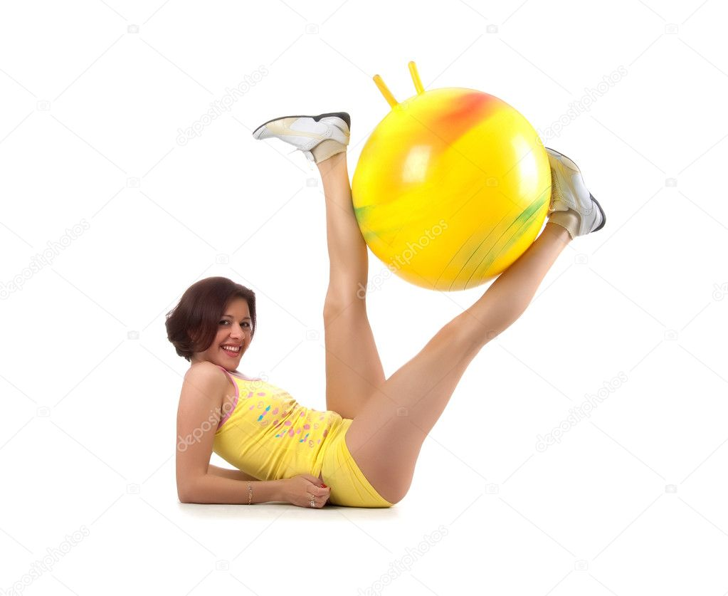 Pretty woman and ball on white background — Stock Photo #1128456