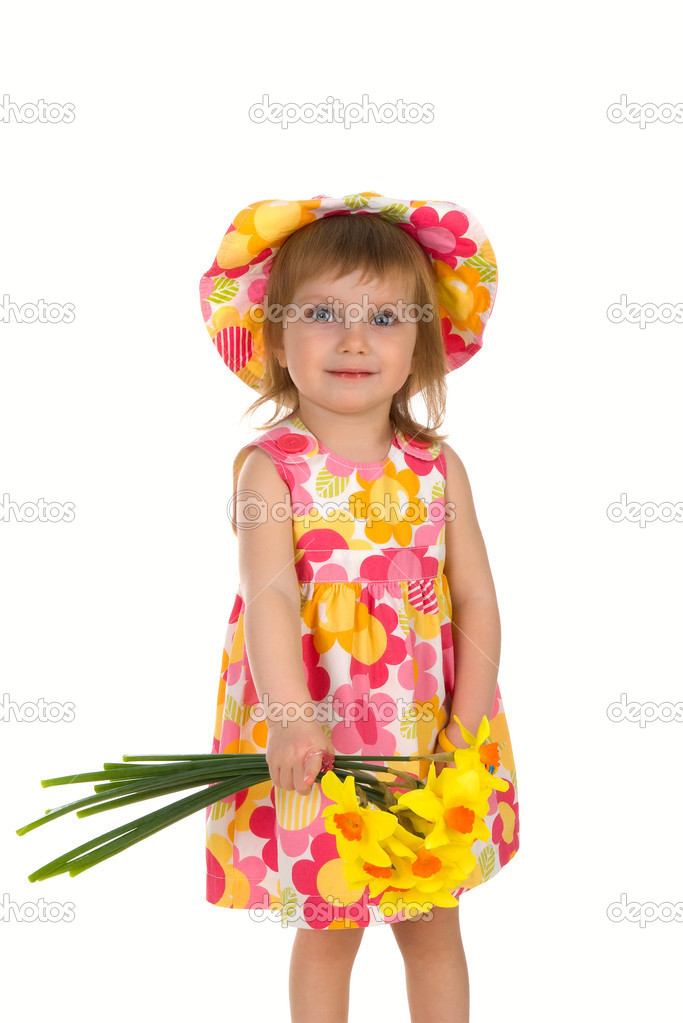 Cute little girl giving flowers. Studio shot — Stock Photo #1128631