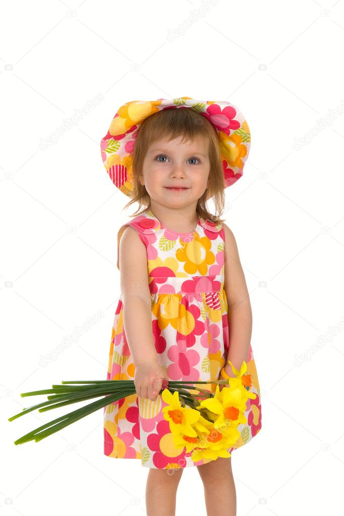 Cute little girl giving flowers. Studio shot — Zdjęcie stockowe #1128631