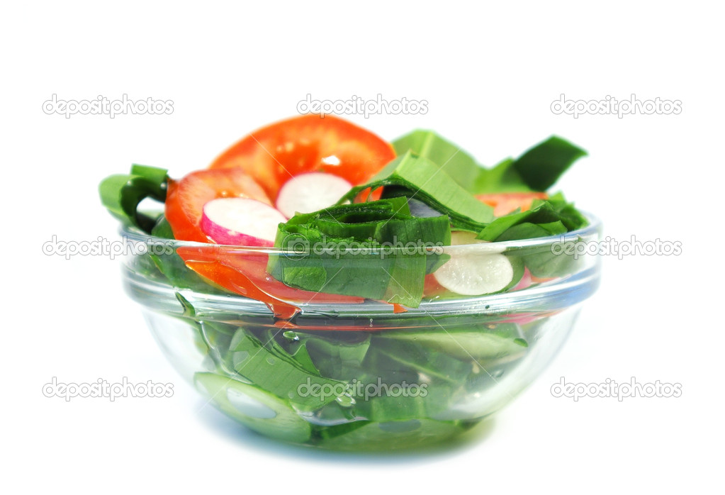 Freshness vegetarian salad and a fork isolated — Stock Photo #1128674