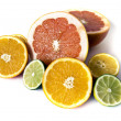 Big assortment of cut citrus — Stock Photo