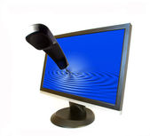 Liquid-crystal monitor and phone — Stock Photo
