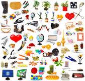 Grote reeks van objecten op wit — Stockfoto