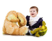 Cute little boy with his toys — Stock Photo