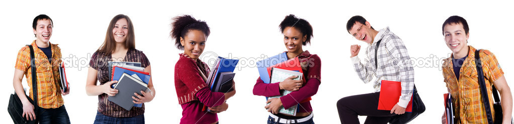 Set the photos of student isolated on white background — Stock Photo #2401374