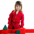 Little girl with her blocks — Stock Photo
