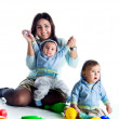 Mom and her twin sons — Stock Photo