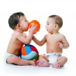 Twin brothers with balls — Stock Photo