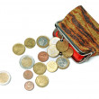 Purse and euro coins isolated on white — Stock Photo