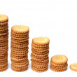 Stock Photo: Descending graph made out of stacks of c