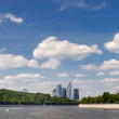 Moscow business city behind river — Stock Photo #1139420