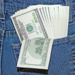 Banknotes in a pocket — Stock Photo