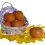 Oranges in basket on maple leaves isolat — Stock Photo