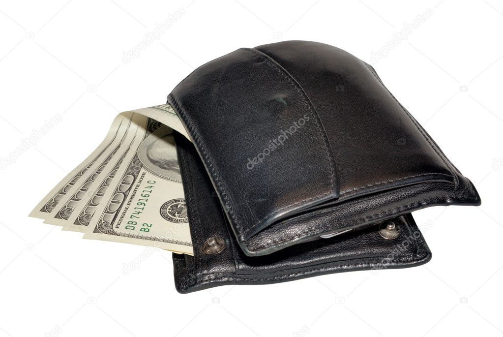 Wallet with money isolated on white with clipping path — Stock Photo #1141954