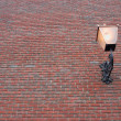 Brick wall with lantern - Stock Photo