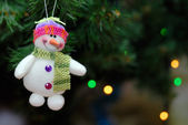 Snowball toy on christmas tree — Stock Photo