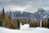 Mountain skiing slope — Stock Photo