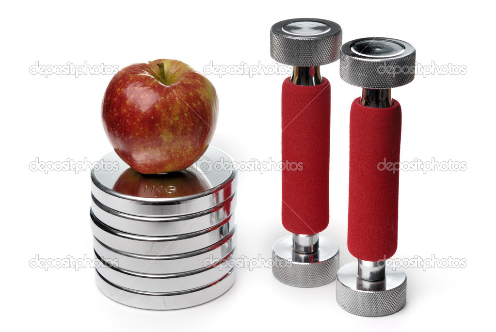 Barbells and apple isolated on white background — Stock Photo #1665400