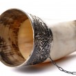 Drinking horn isolated on white — Stock Photo