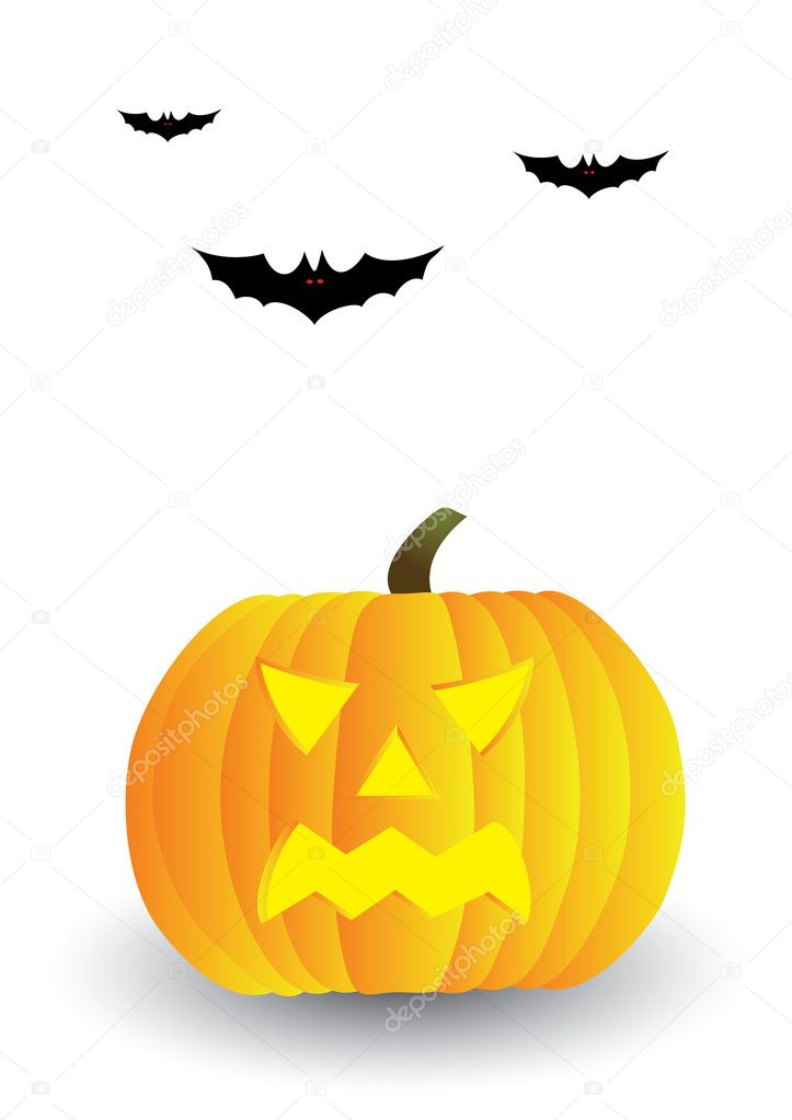 Halloween pumpkin and bats — Stock Vector #2251906