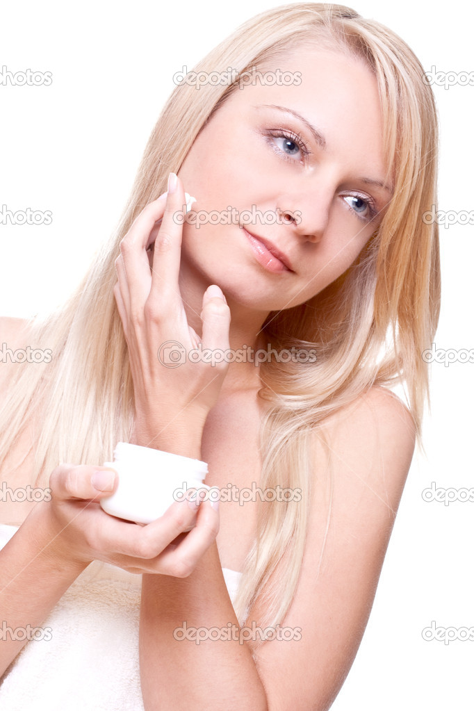 Relaxed woman on the procedures of massage on a white background — Stock Photo #1154577