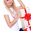 Stock Photo: Beautiful womwith holiday gift
