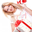 Beautiful woman with holiday gift — Stock Photo #1204847