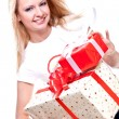 Beautiful woman with holiday gift — Stock Photo #1205665