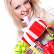 Beautiful woman with holiday gift — Stock Photo #1207366