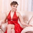 Stock Photo: Womin red dress
