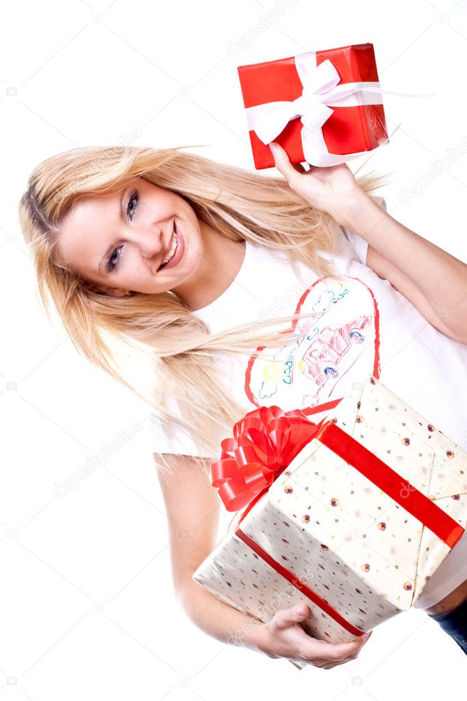 Beautiful woman with holiday gift on a white background — Stock Photo #1204847