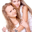 Two beautiful women in a white T-shirts — Stock Photo