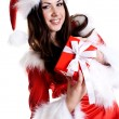 Beautiful woman wearing santa claus — Stock Photo