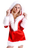 Beautiful woman wearing santa claus — Stock Photo