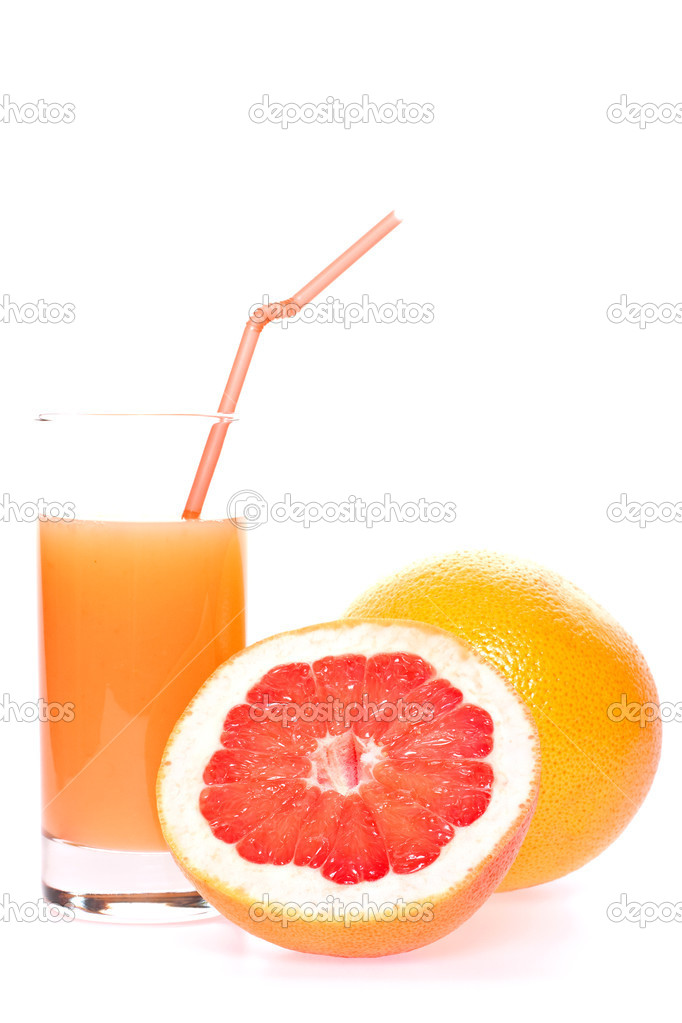 Grapefruit and juice in glass on a white background  Stock Photo #1718403